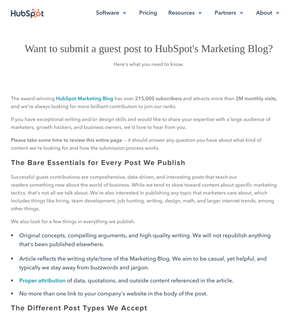 HubSpot Marketing Blog Guest Blogging Guidelines